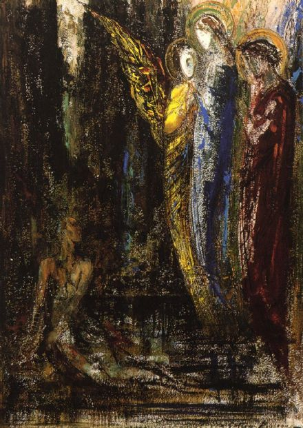 Moreau, Gustave: Job and the Angels. Fine Art Print/Poster. Sizes: A4/A3/A2/A1 (00523)
